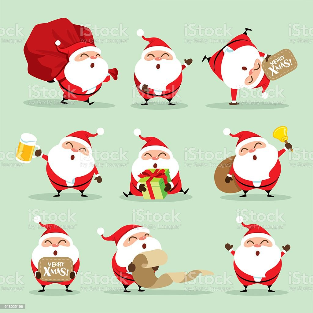 Collection of Christmas Santa Claus - set 1 vector art illustration