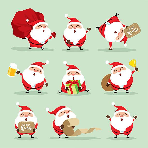 Collection of Christmas Santa Claus - set 1 vector art illustration