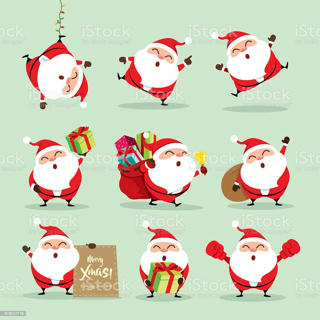 Collection of Christmas Santa Claus - set 2 vector art illustration
