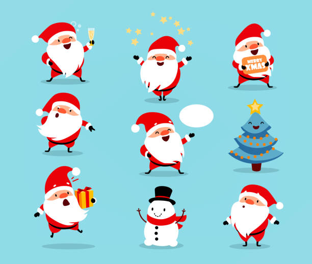 ilustrações de stock, clip art, desenhos animados e ícones de collection of christmas santa claus. set of funny cartoon characters with different emotions. vector illustration isolated on light blue - santa claus