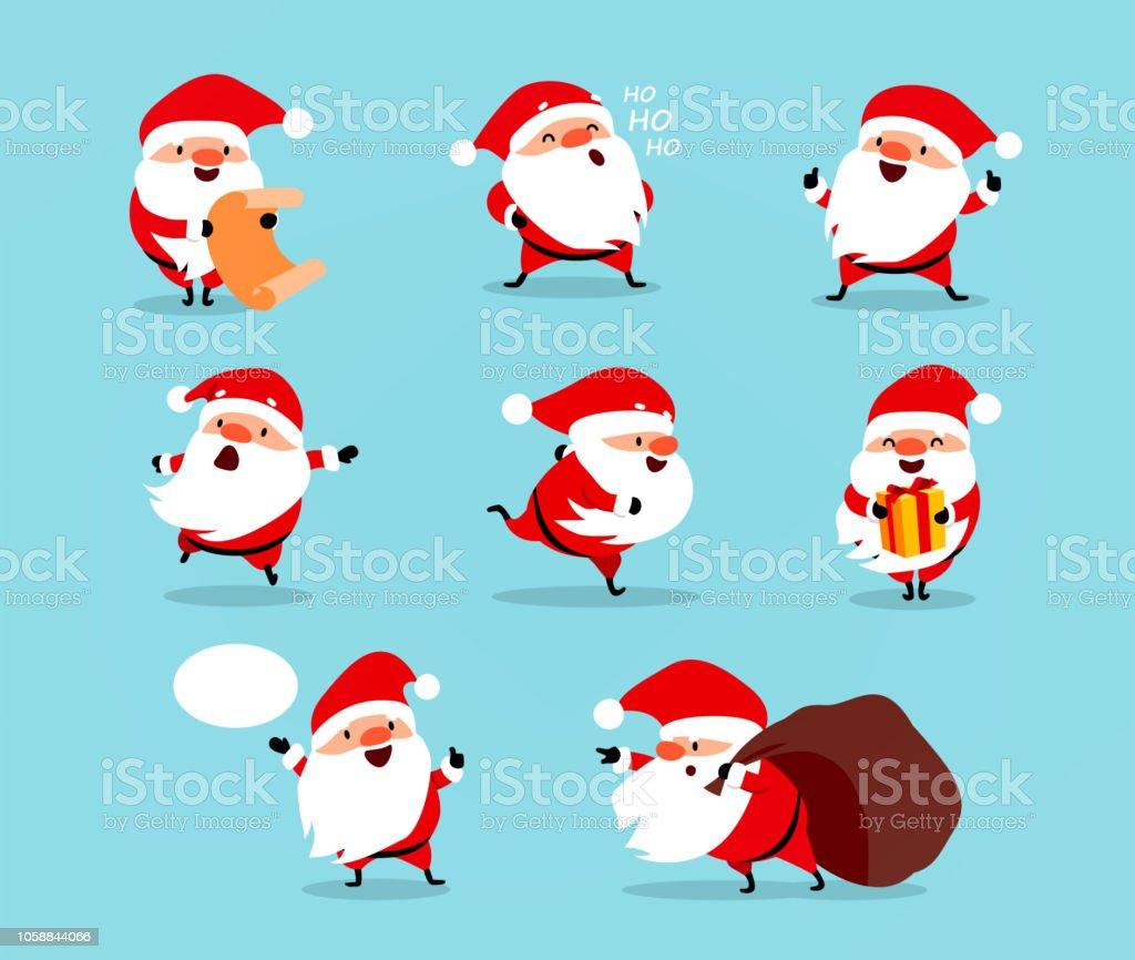 Collection de Noël père Noël. Jeu de caractères de dessin animé drôle avec différentes émotions. Illustration vectorielle isolée sur bleu clair - clipart vectoriel de Bonheur libre de droits