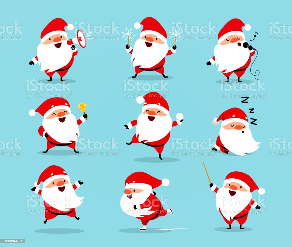 Collection of Christmas Santa Claus. Set of funny cartoon characters with different emotions. Vector illustration isolated on light blue - arte vettoriale royalty-free di Adulto