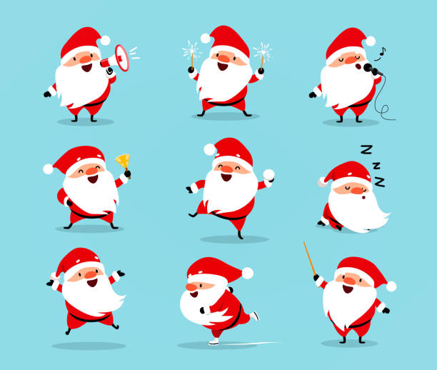 illustrazioni stock, clip art, cartoni animati e icone di tendenza di collection of christmas santa claus. set of funny cartoon characters with different emotions. vector illustration isolated on light blue - personaggio fantastico