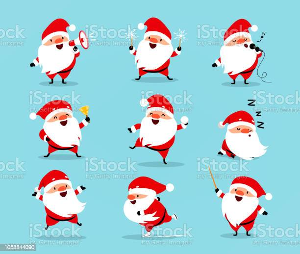 Collection Of Christmas Santa Claus Set Of Funny Cartoon Characters With Different Emotions Vector Illustration Isolated On Light Blue - Immagini vettoriali stock e altre immagini di Adulto