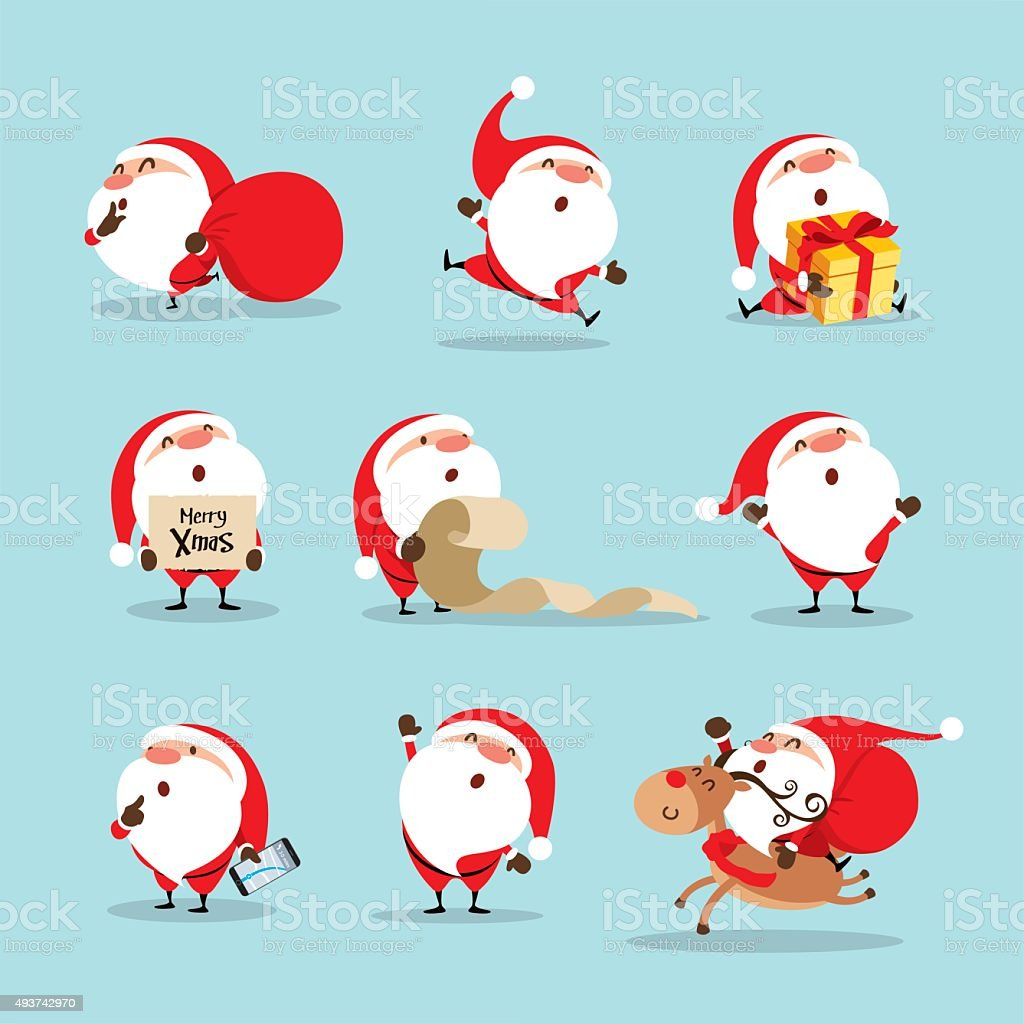 Collection of Christmas Santa Claus vector art illustration