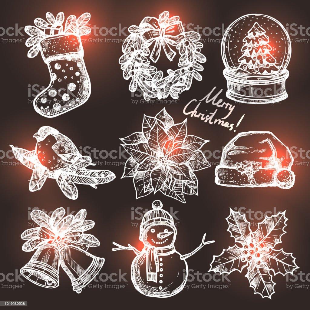 Sammlung Von Weihnachten Skizzen Stock Vektor Art und mehr Bilder ...