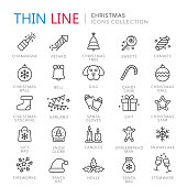 Collection of christmas thin line icons. Vector eps10
