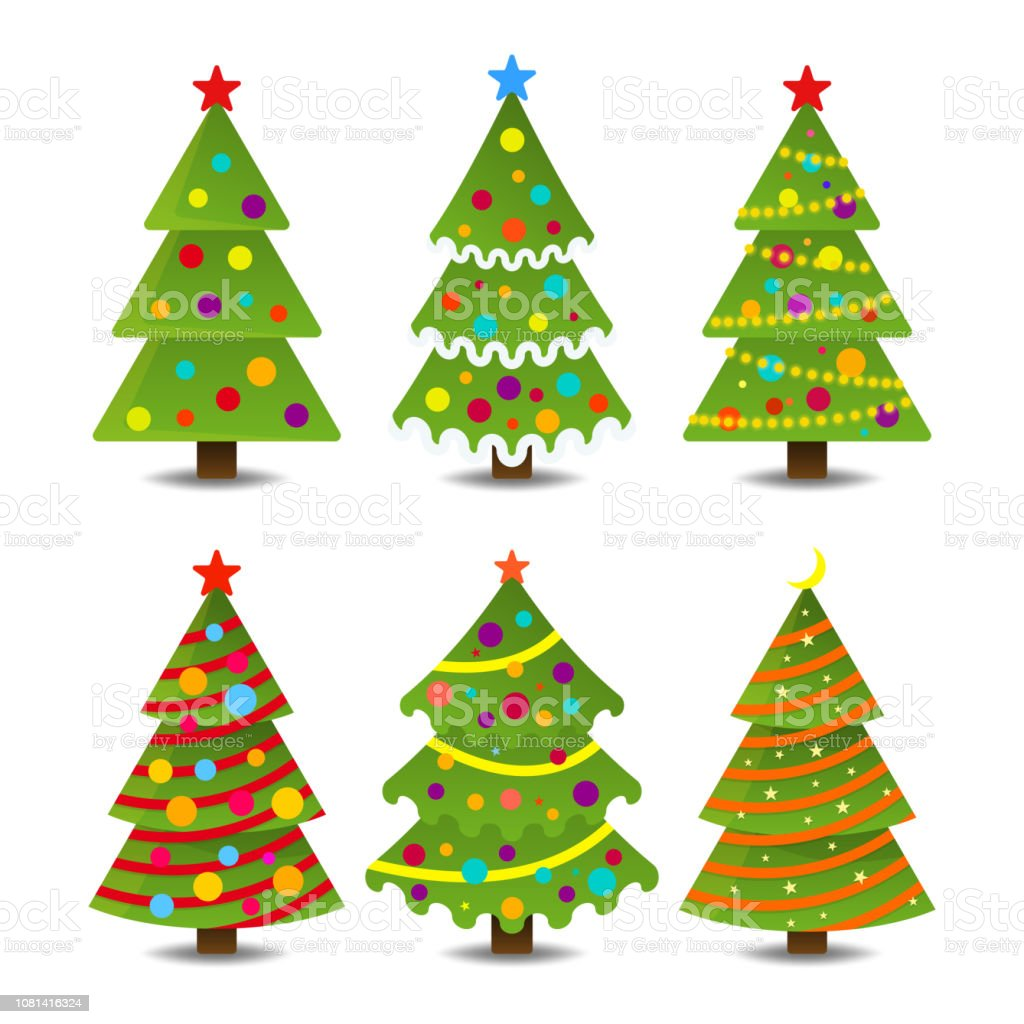 Collection Of Christmas Trees Modern Design Can Be Used For