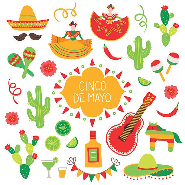 bildbanksillustrationer, clip art samt tecknat material och ikoner med collection of cinco de mayo design elements - cactus lime