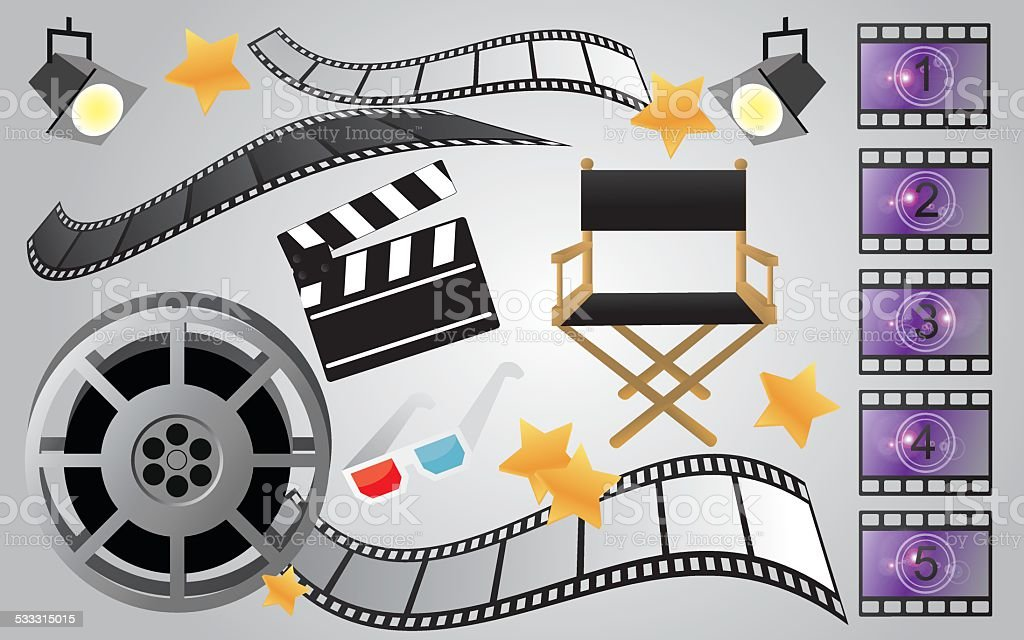Collection of cinema or movie items, vector vector art illustration