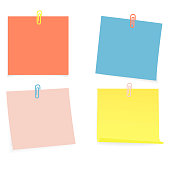 Collection of clear color lists of paper with pin on the white background. Vector illustration