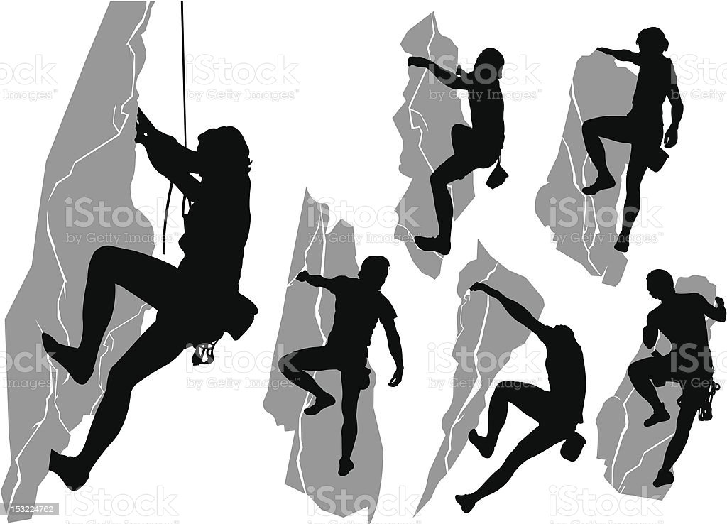 Collection of climbers vector art illustration