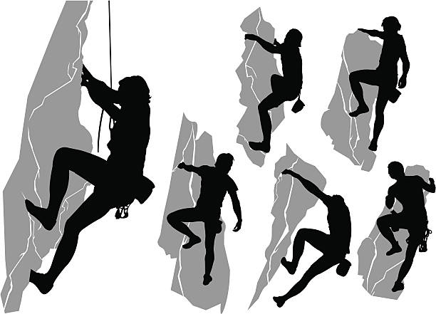 collection of climbers - rock climbing stock illustrations, clip art, cartoons, & icons