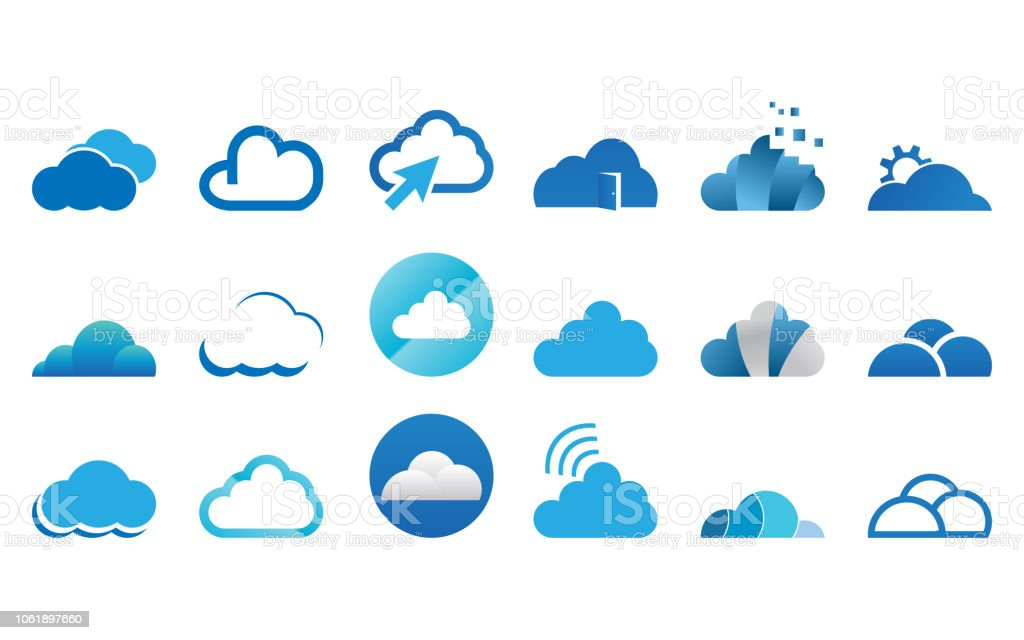 Collection of cloud logo icon template vector set Collection of cloud logo icon template vector set Atmosphere stock vector