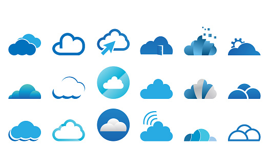 Collection Of Cloud Logo Icon Template Vector Set Stock Illustration - Download Image Now