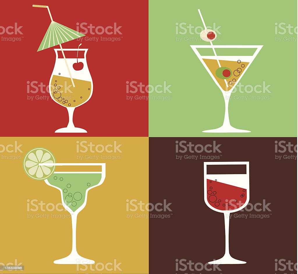 Collection of cocktails vector art illustration