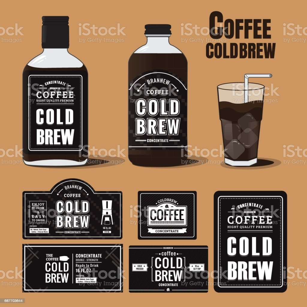 Collection Of Coffee Cold Brew Labels In Bottles Stock Illustration -  Download Image Now