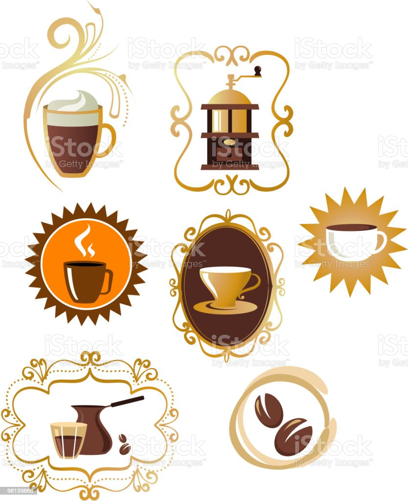 collection of coffee icons with retro frames royalty-free collection of coffee icons with retro frames stock vector art & more images of art