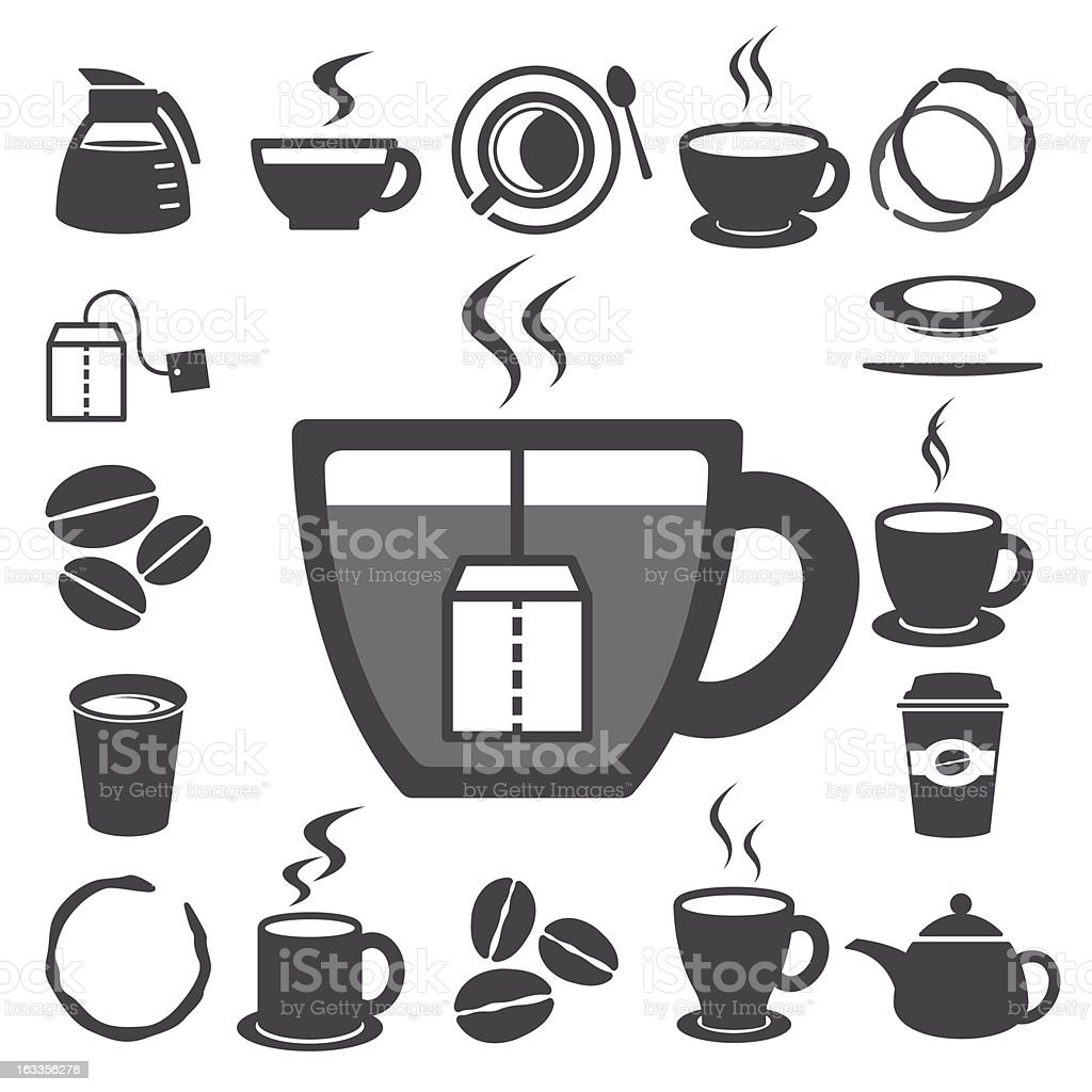 Collection of coffee mug and teacup icons royalty-free stock vector art