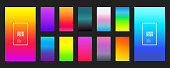 Collection of color gradients background on a dark background. Modern vector screen design for mobile application. Soft color gradients. Vector illustration.