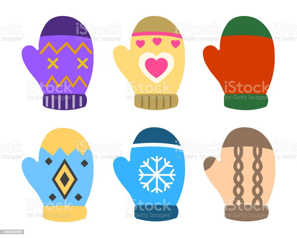Collection of color mittens with bright geometric ornament. Flat design Vector Illustration - Royalty-free Acessório arte vetorial