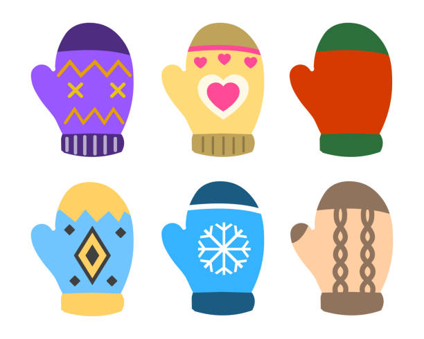 Collection of color mittens with bright geometric ornament. Flat design Vector Illustration Collection of color mittens with bright geometric ornament. Flat design Vector Illustration EPS mitten stock illustrations