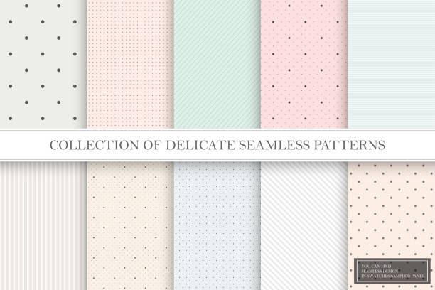 Collection of color repeatable delicate patterns. Dotted, striped tileable textures. You can find seamless backgrounds in swatches panel Collection of color repeatable delicate patterns. Dotted, striped tileable textures. You can find seamless backgrounds in swatches panel. fragility stock illustrations