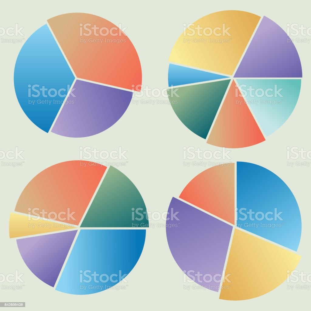 collection of colored circular diagrams 2 vector art illustration