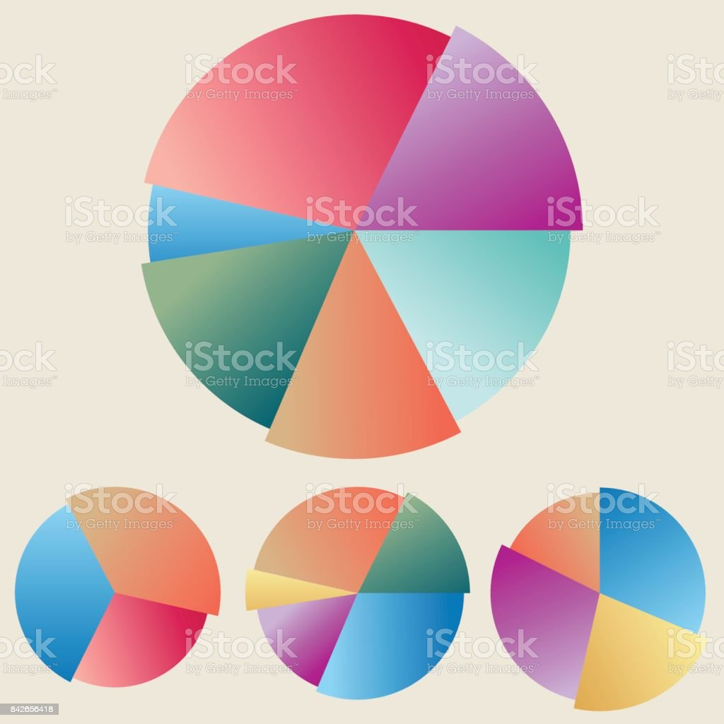 collection of colored circular diagrams vector art illustration