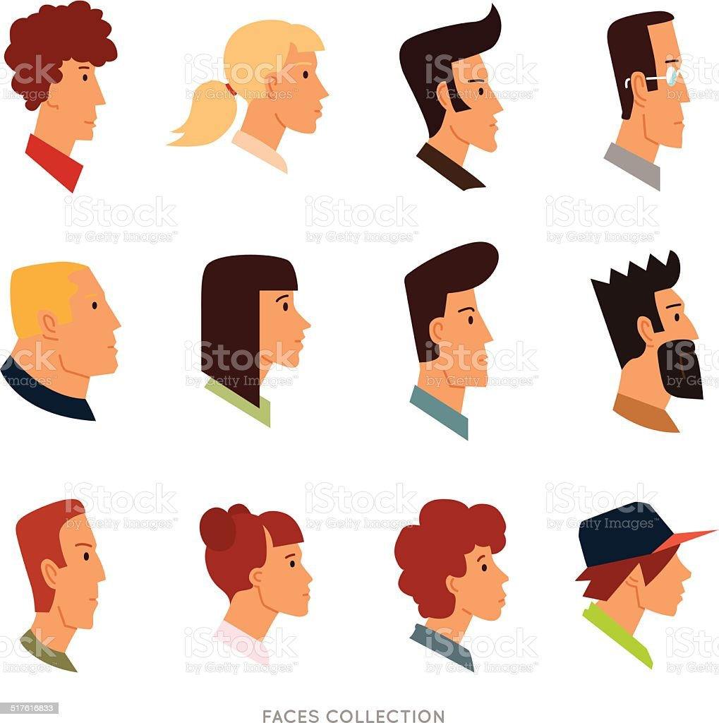 Collection of colored flat avatars with different human heads vector art illustration