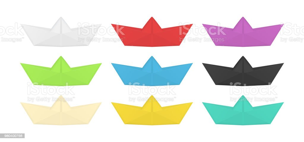 Collection Of Colored Origami Boat Folded Paper Ship Set Isolated