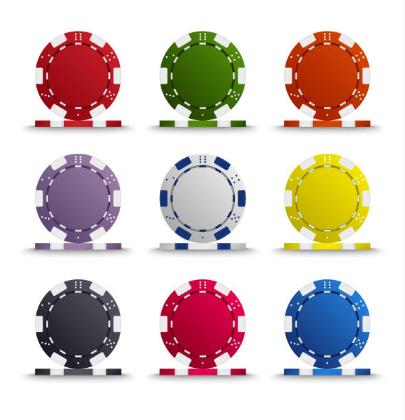 Collection of colored poker chips template Collection of colored poker chips template vector eps 10 gambling chip stock illustrations