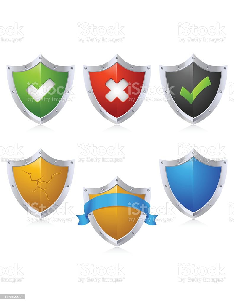 A collection of colored security shield icons royalty-free a collection of colored security shield icons stock vector art & more images of black color