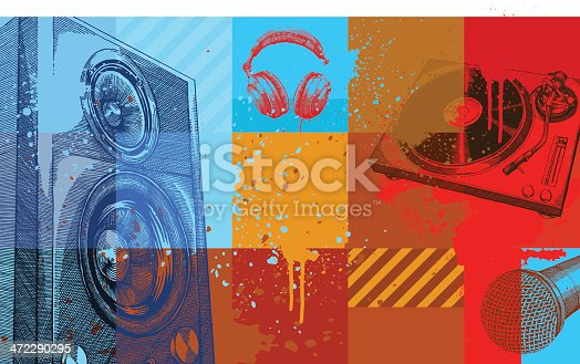 istock A collection of colored squares with music items on them 472290295