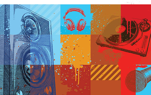A collection of colored squares with music items on them Music background, very high detail - vector illustrations radio dj stock illustrations