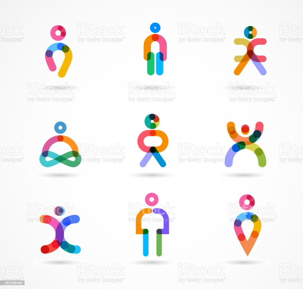 Collection of colorful abstract vector people vector art illustration