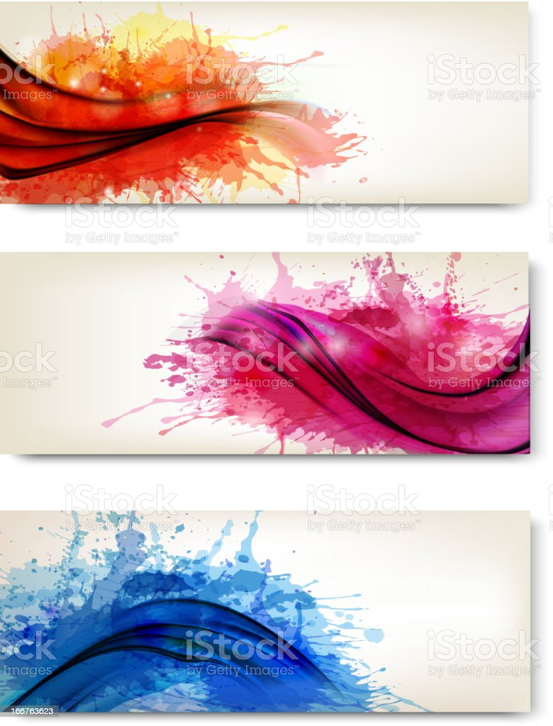 Collection of colorful abstract watercolor banners royalty-free collection of colorful abstract watercolor banners stock vector art & more images of abstract