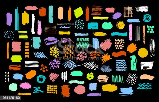 istock collection of colorful bright dry paint brush marker ink stokes textures 931129160