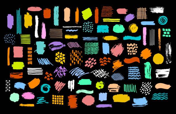 彩色鮮豔幹漆刷標記油墨斯托克斯紋理的收集 - 形狀 幅插畫檔、美工圖案、卡通及圖標