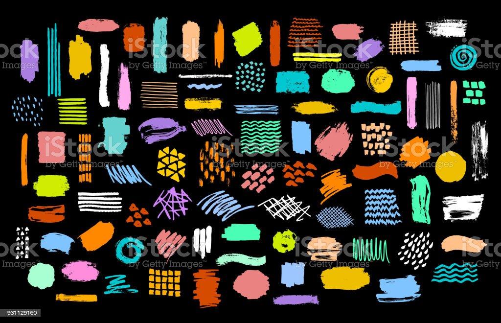 collecte d'entrée manuscrite brosse de marqueur peinture sèche lumineuse colorée stokes textures - Illustration vectorielle