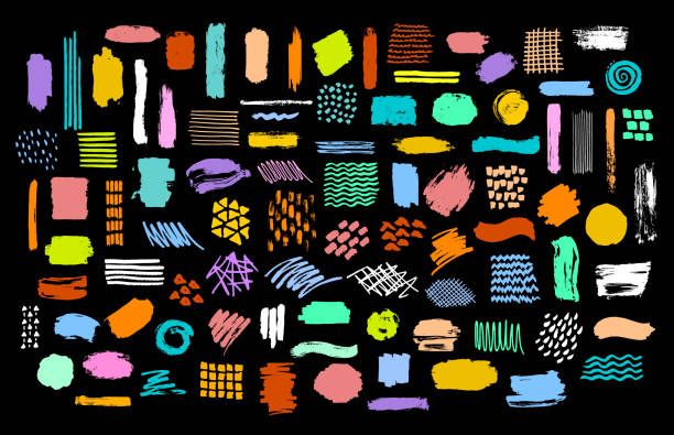 collection of colorful bright dry paint brush marker ink stokes textures - farba stock illustrations
