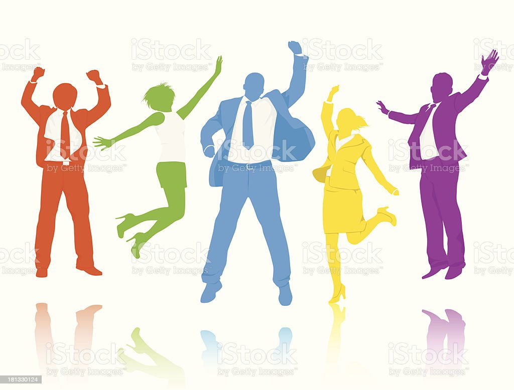 Collection of colorful businesspeople silhouettes royalty-free stock vector art