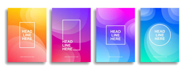 a collection of colorful covers. wavy shapes with gradient. - kultura młodości stock illustrations