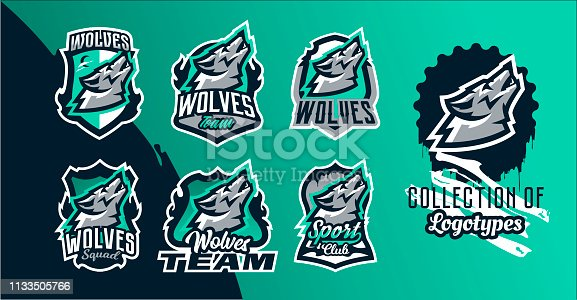 Collection of colorful emblems of the howling wolf. Logo, badge of the wild beast, dangerous animal, aggressive predator. Identity sports club, vector illustration.