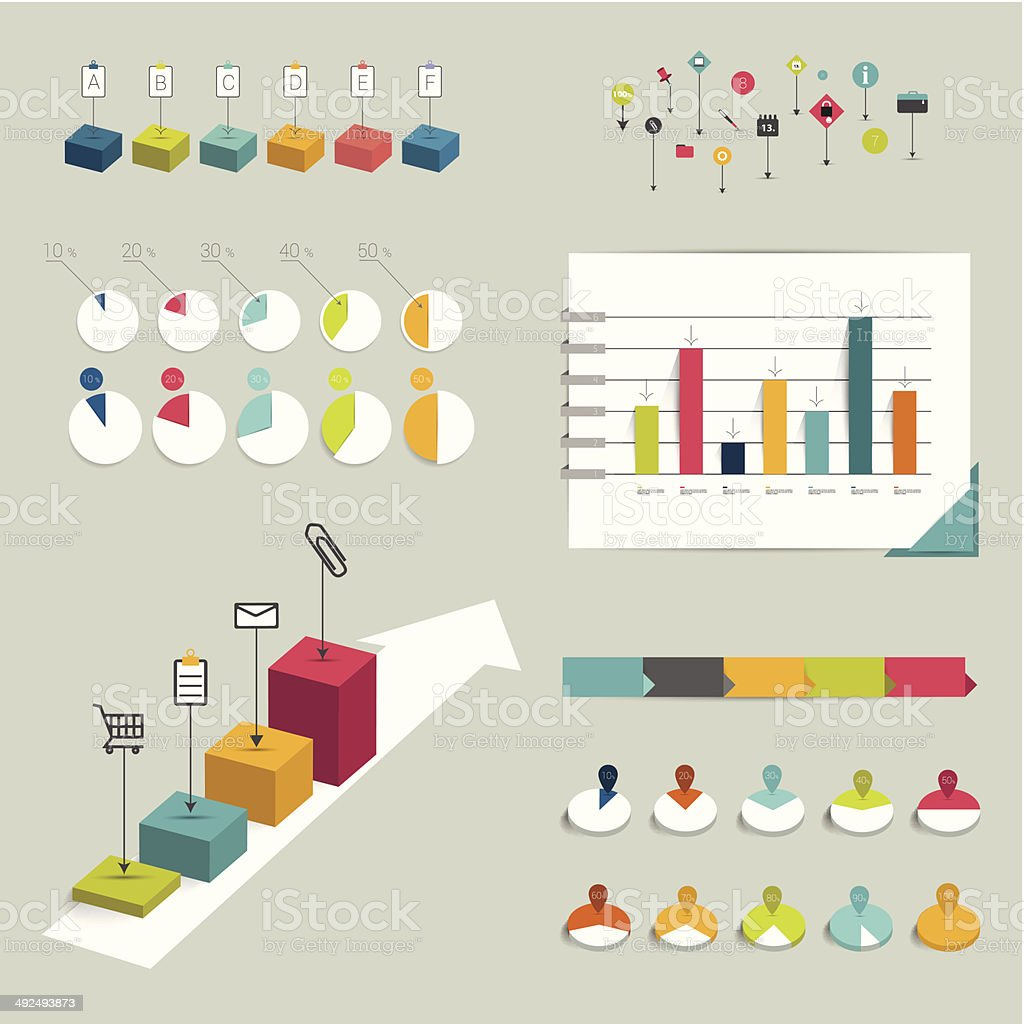 Collection of colorful flat infographic elements. vector art illustration