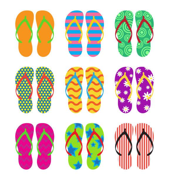 stockillustraties, clipart, cartoons en iconen met collectie van kleurrijke flip flops set op witte achtergrond - vectorillustratie - slipper