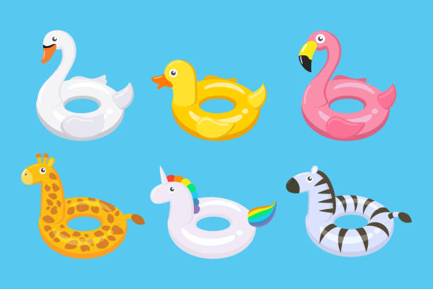 ilustrações de stock, clip art, desenhos animados e ícones de collection of colorful floats cute kids toys set in different animals - vector illustration. - brinquedos na piscina