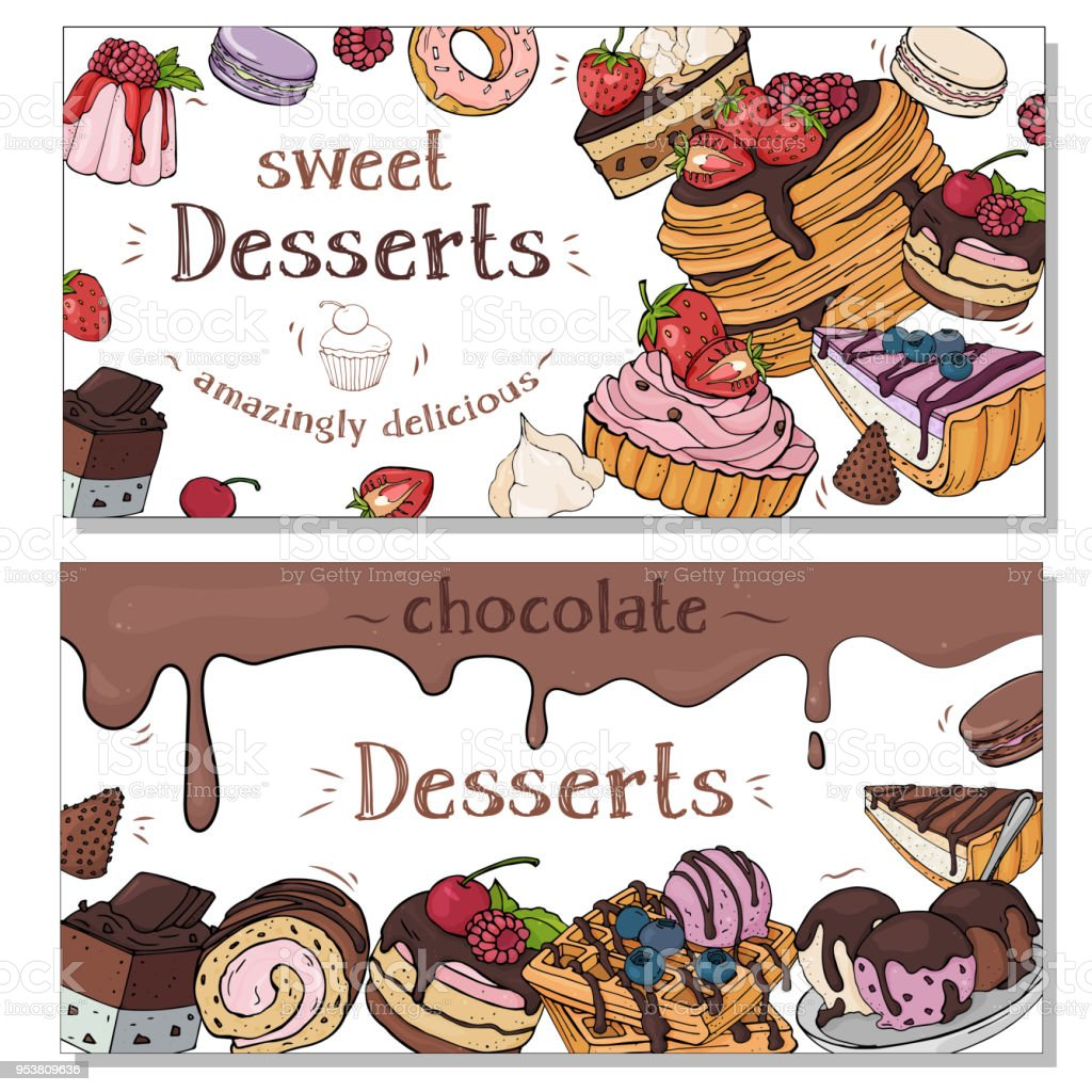 collection of colorful flyers with different desserts colorful