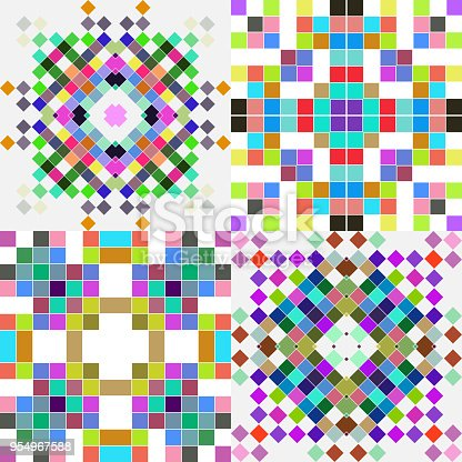 collection of colorful geometry texture background
