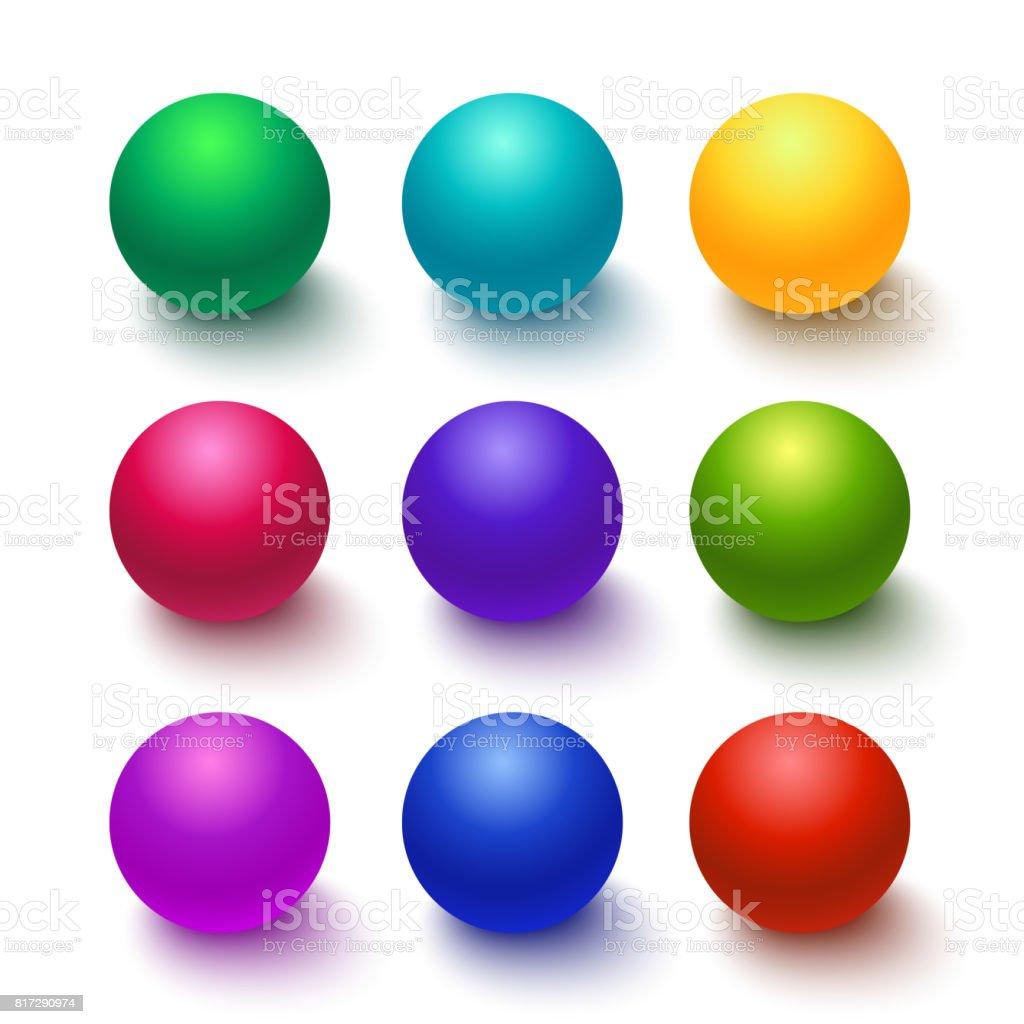 Colección de colorido brillante esferas - ilustración de arte vectorial